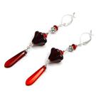 Pasidaryk pats: raudono stiklo auskarai