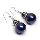 Auskarai su violetiniais kriauklės perlais