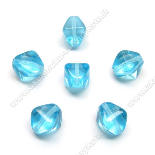Stiklas melsvas keturbriaunio rombo formos 9 mm