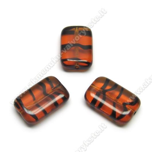 Stiklas rudas dryžuotas stačiakampės pagalvėlės formos 15x10 mm