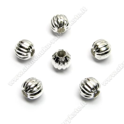 Metaliniai karoliukai su grioveliais, sidabro spalvos 5.5 mm