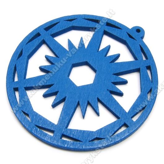 Medinis pakabukas mėlynas 6 cm