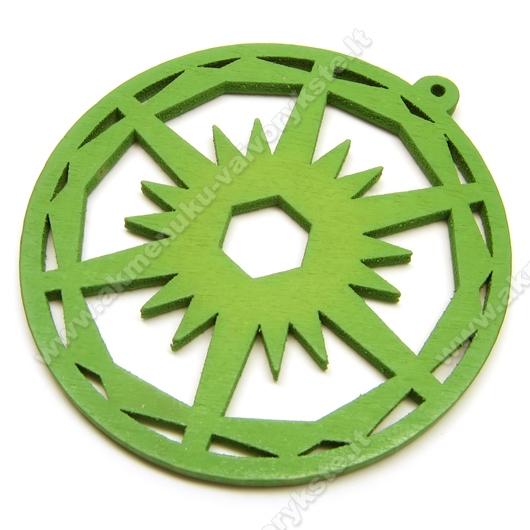 Medinis pakabukas žalias 6 cm