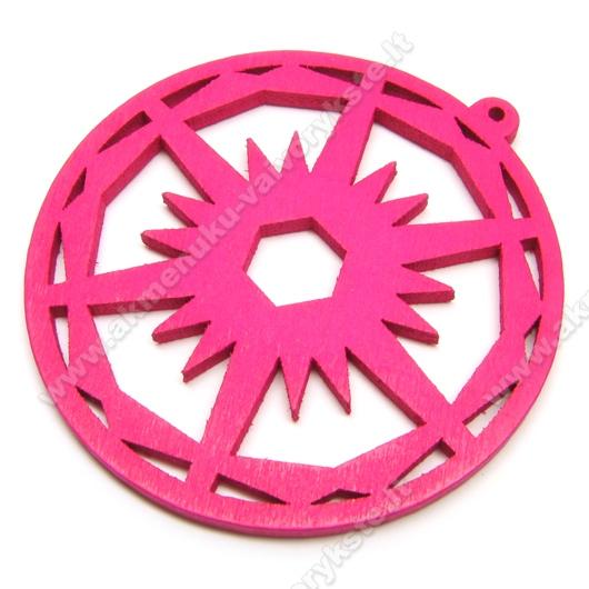 Medinis pakabukas ciklameno spalvos 6 cm