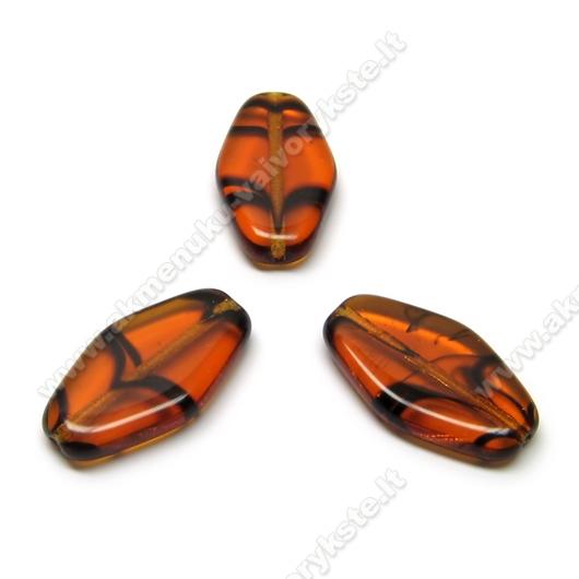 Stiklas rudas margas pailgo šešiakampio formos 20x11 mm