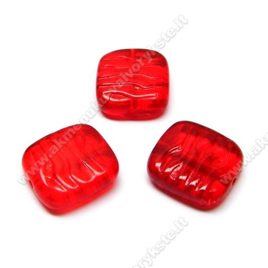 Stačiakampis stiklas raudonas skaidrus 16x15 mm