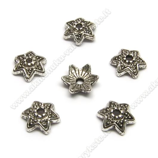 Tibeto sidabro kepurėlės žvaigždelės formos 9 mm