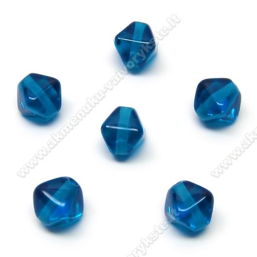Stiklas mėlynas keturbriaunio rombo formos 6 mm