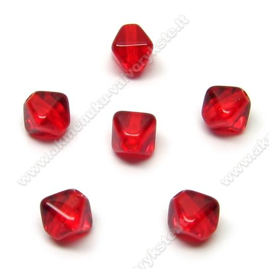 Stiklas raudonas keturbriaunio rombo formos 6 mm
