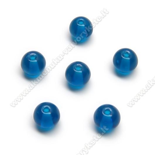 Mėlynos akvamarino spalvos stiklas rutuliuko formos 6 mm