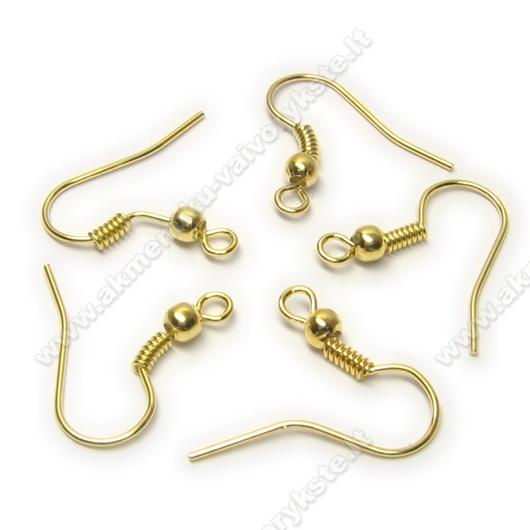 Aukso spalvos auskarų kabliukų su karoliuku pora 18 mm
