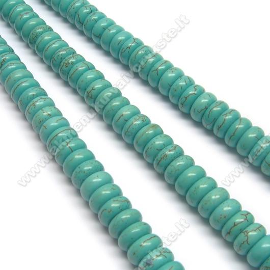 Turkio spalvos hovlitas rondelės formos 8x4 mm
