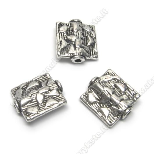 Tibeto sidabro intarpas stačiakampis 12x11 mm
