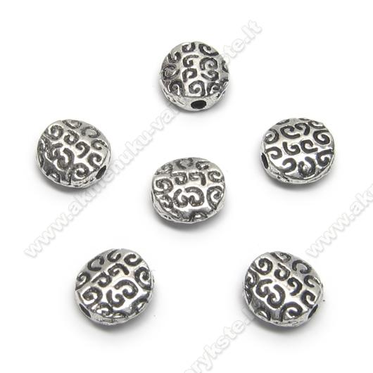 Tibeto sidabro intarpas diskelio formos 7 mm