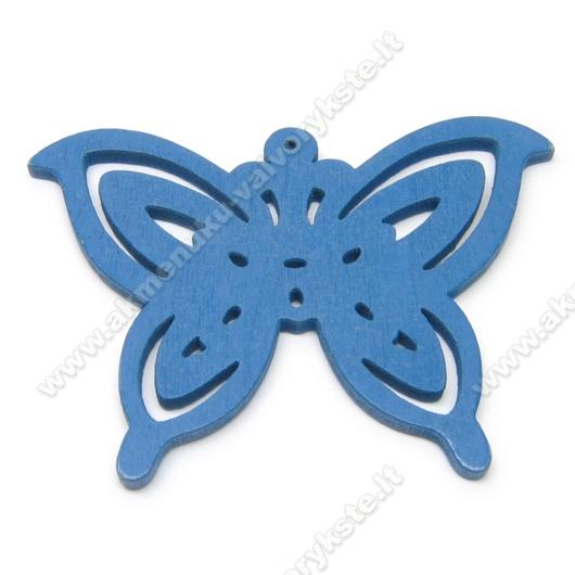 Medinis pakabukas - peteliškė mėlynas 4,4x6 cm