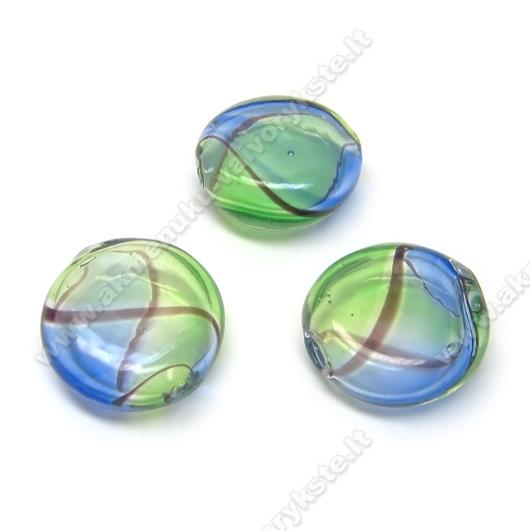 Pūstas stiklas žaliai mėlynas plokščio ovalo formos 18x7 mm
