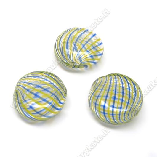 Pūstas stiklas geltonomis ir mėlynomis juostelėmis plokščio ovalo formos 18x7 mm
