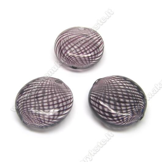 Pūstas stiklas rudomis juostelėmis plokščio ovalo formos 18x7 mm