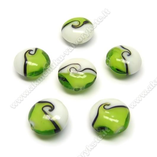 Lampwork karoliukai žaliai balti 16 mm