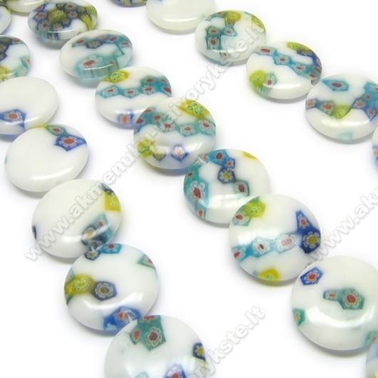 Balti millefiori karoliukai disko formos 20 mm