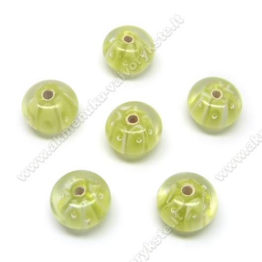 Lampwork karoliukai salotinės spalvos 12x8 mm