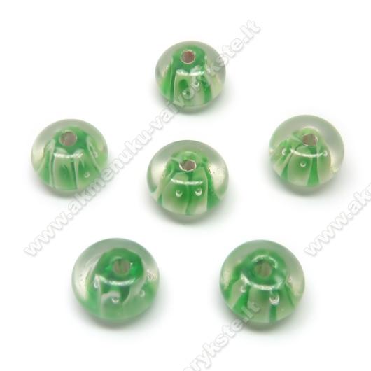 Lampwork karoliukai žali 12x8 mm