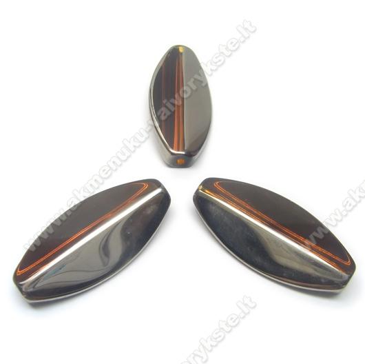 Rudas stiklas sidabruotais kraštais 36 mm