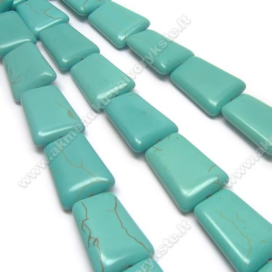 Hovlitas turkio spalvos trapecijos formos 24x17 mm