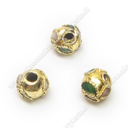 Cloisonne karoliukai auksaspalviai apvalūs 5 mm