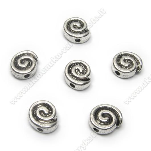 Spiralės formos tibeto sidabro intarpai 8 mm