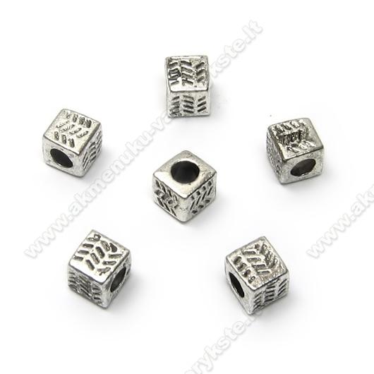 Tibeto sidabro intarpai kubelio formos su bangelėmis 4,5 mm