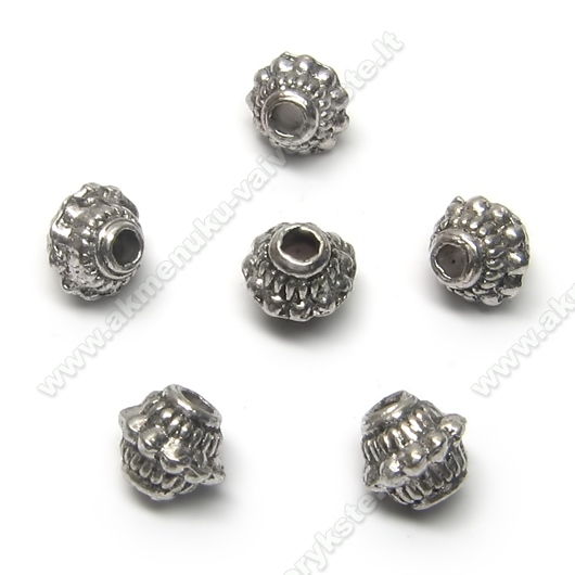 Tibeto sidabro intarpai dvipusio konuso formos 6,5 mm