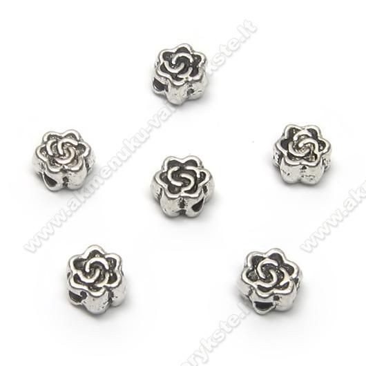 Smulkūs tibeto sidabro intarpai rožytės formos 4,5 mm