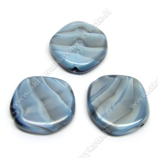 Stiklas perlamutriškai melsvas margas netaisyklingo disko formos 20 mm