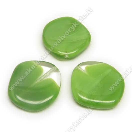 Stiklas perlamutriškai žalias margas netaisyklingo disko formos 20 mm