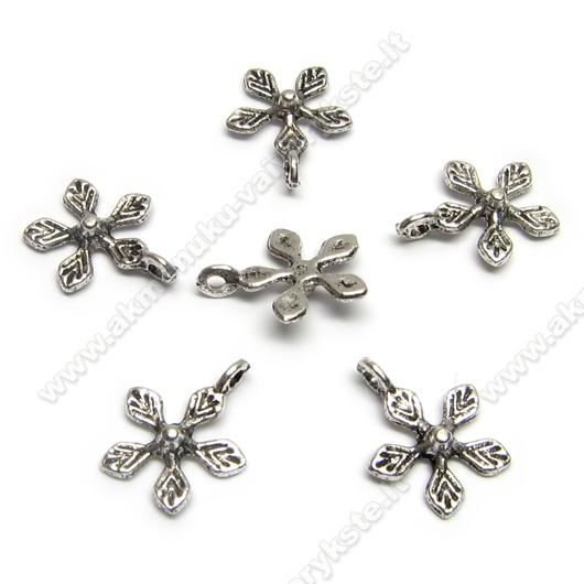 Tibeto sidabro pakabutis gėlytės formos 10 mm