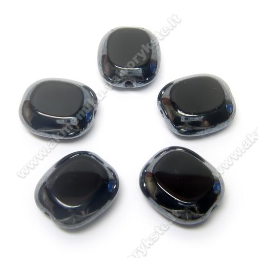 Juodas stiklo karoliukas veidrodiniais kraštais stačiakampio formos 14x12 mm