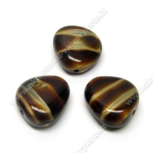 Stiklas tamsios karamelės spalvos margas trikampio ovalo formos 18x17 mm