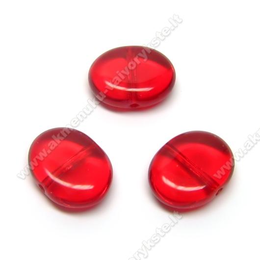 Ovalinis raudonas stiklinis karoliukas 10x12 mm