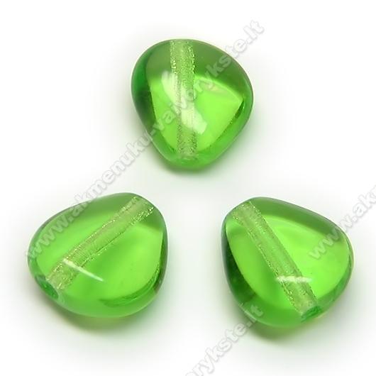 Stiklas žalias trikampio ovalo formos 12x11 mm