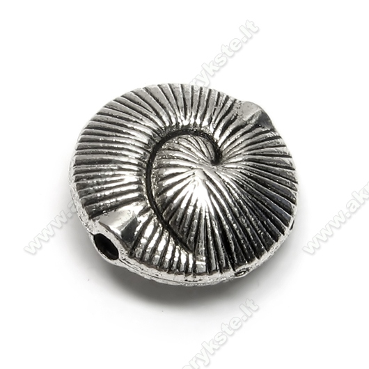 Kriauklės formos sendinto sidabro spalvos intarpas 18 mm