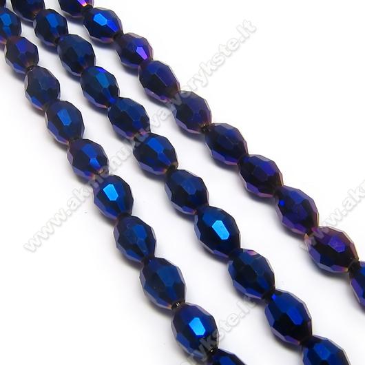 Mėlyno facetuoto stiklo ovalai dengti AB danga 6x8 mm