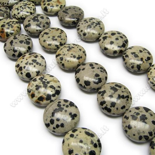 Dalmatininis jaspis plokščio disko formos 20 mm