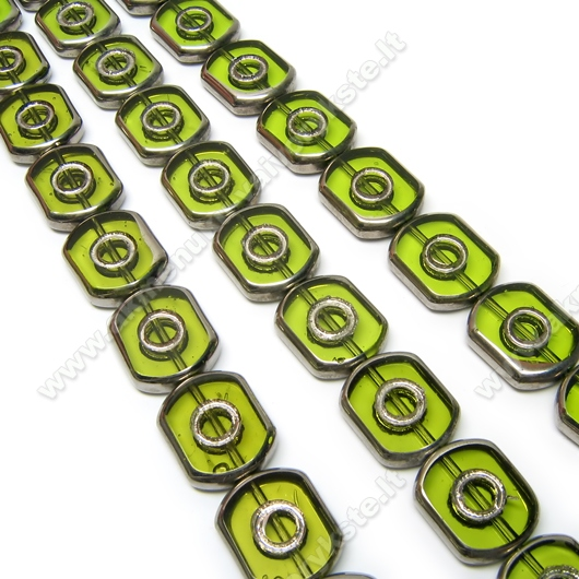 Stikliniai karoliukai žali pasidabruotais kraštais 16 mm