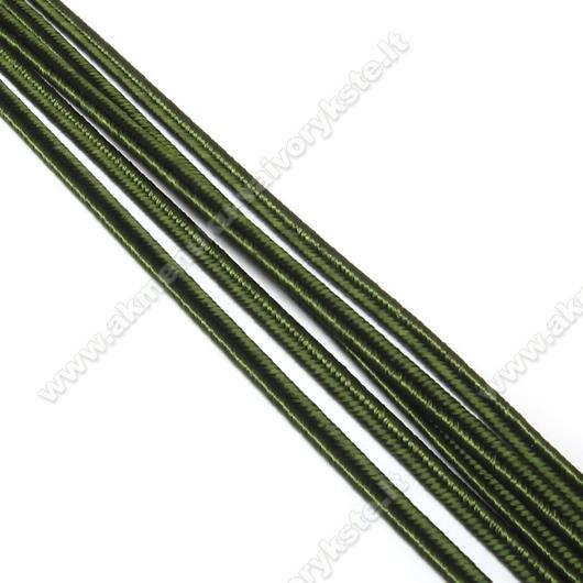 Samanų žalumo spalvos sutažo juostelė 3 mm