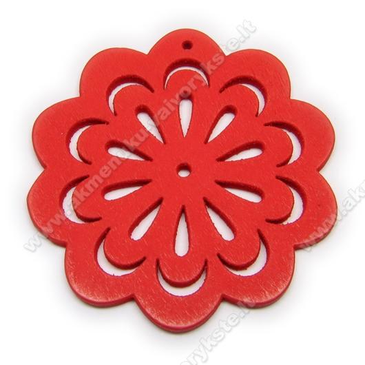 """Medinė """"gėlytė"""" raudona 4,9 cm"""