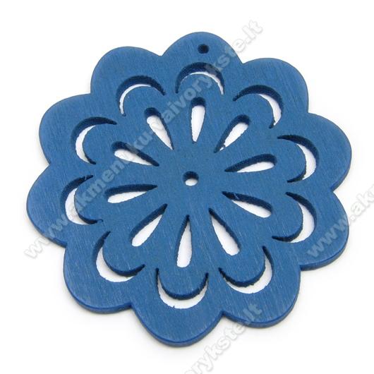 """Medinė """"gėlytė"""" mėlyna 4,9 cm"""