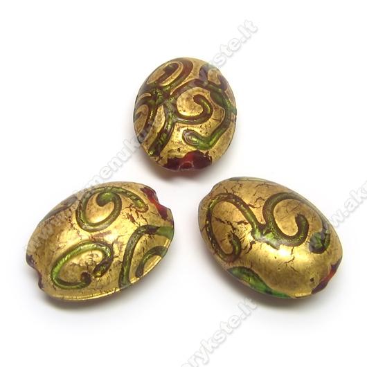 Stiklo ovalas su ornamentais dengtas sendinta aukso dulkių danga