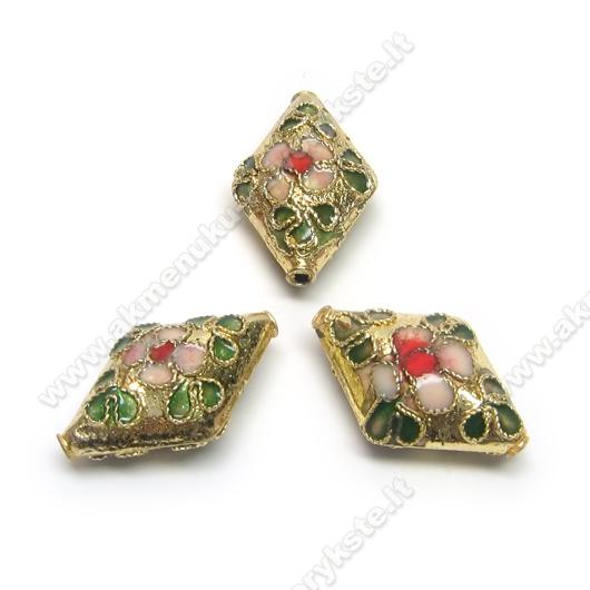 Cloisonne karoliukai aukso spalvos 20x13 mm