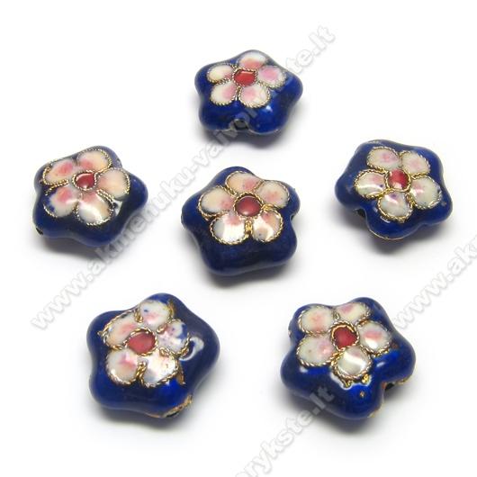 Cloisonne karoliukai mėlyni gėlytės formos 16 mm